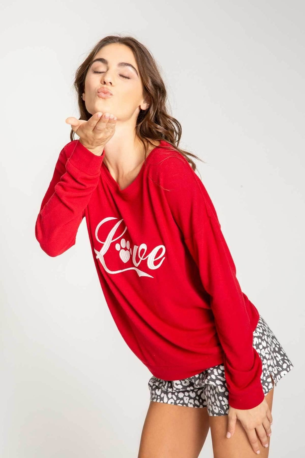 PJ Salvage Red L/sleeve Top - Front Full Image