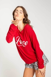 PJ Salvage Red L/sleeve Top - Front full body