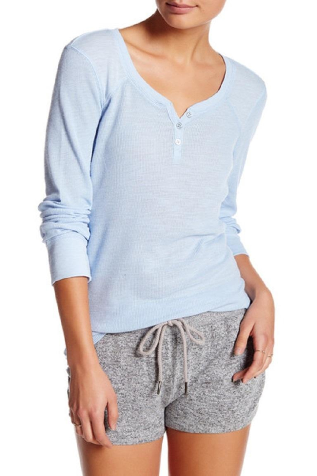 PJ Salvage Thermal Henley Top - Front Cropped Image