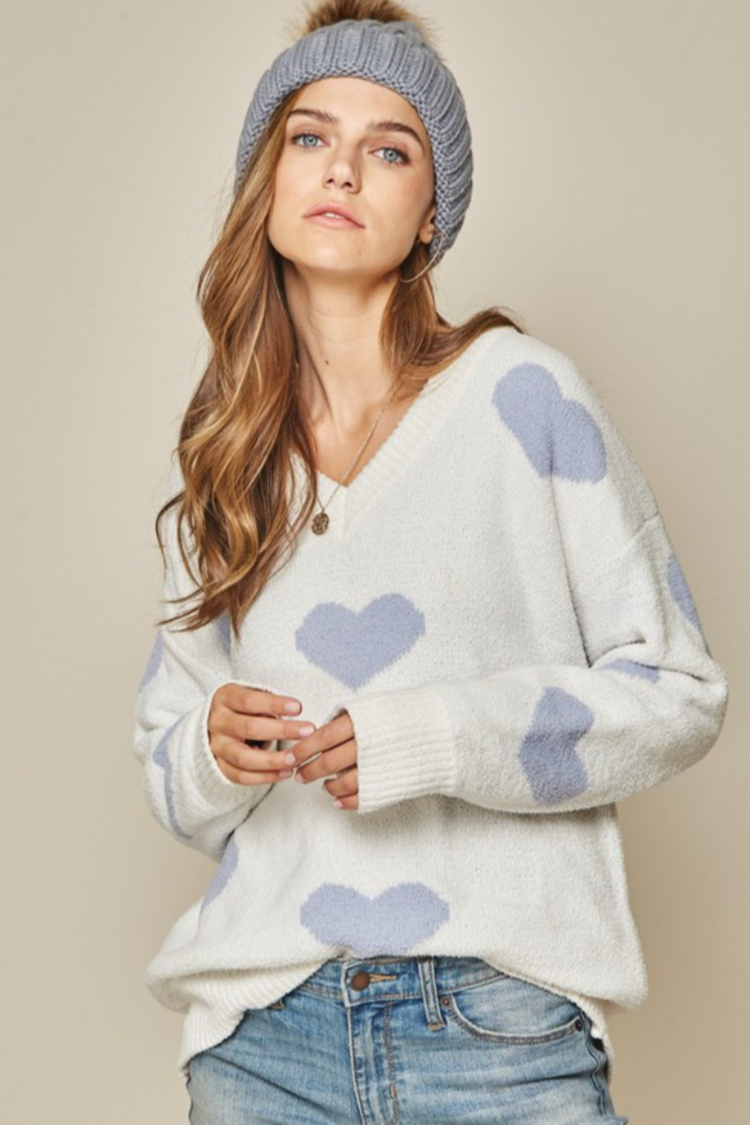 Andree by Unit Placid Hearts Sweater - Side Cropped Image