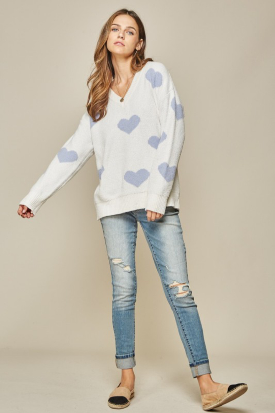 Andree by Unit Placid Hearts Sweater - Back Cropped Image