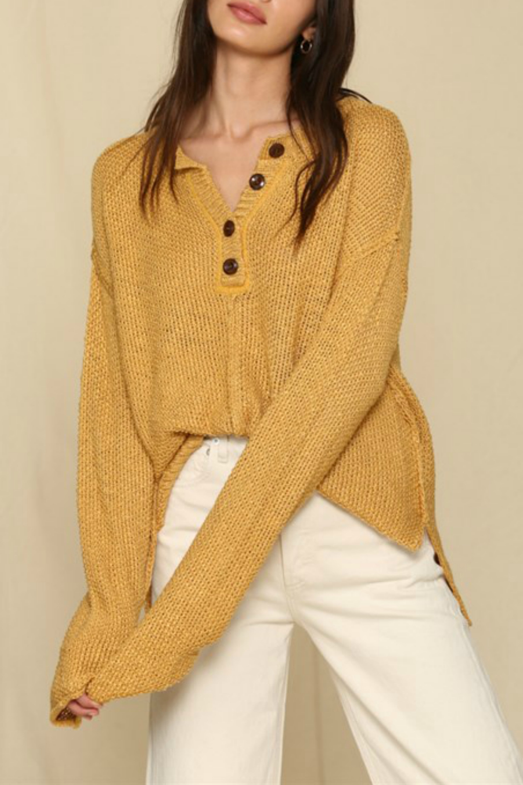 By Together  Placket Detailed Sweater - Main Image