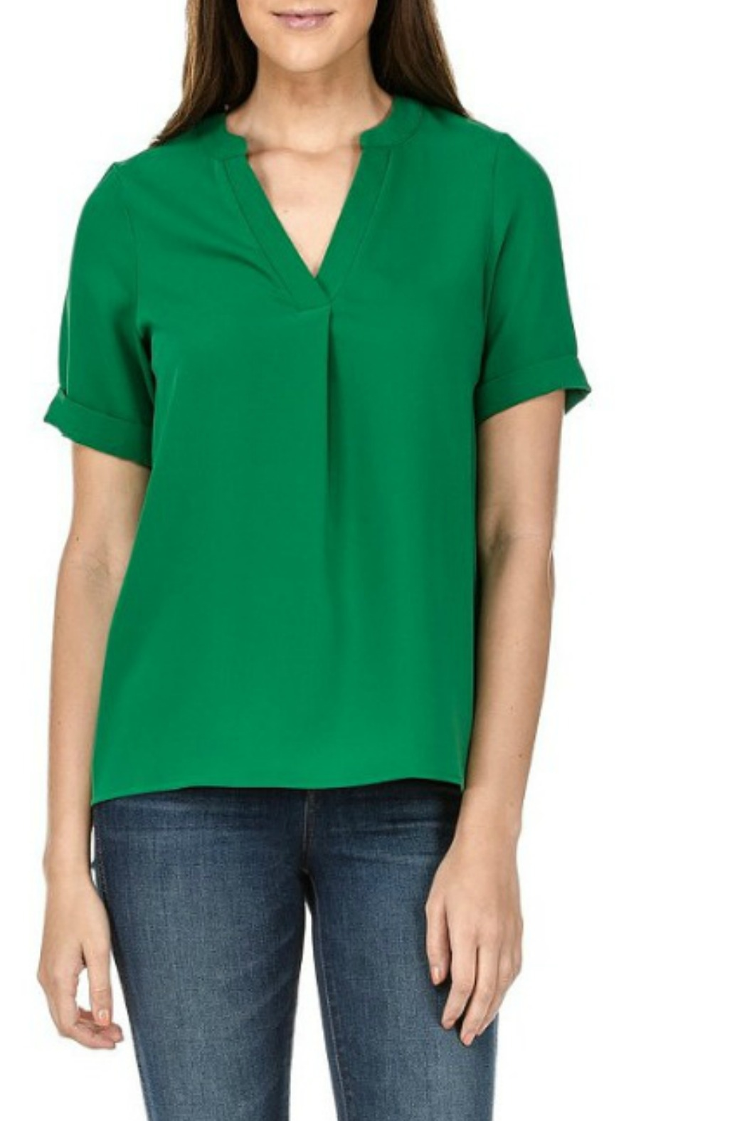 Jade Placket Short Sleeve Top - Front Cropped Image