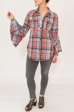 Shoptiques Product: Plaid Bellsleeve Shirt