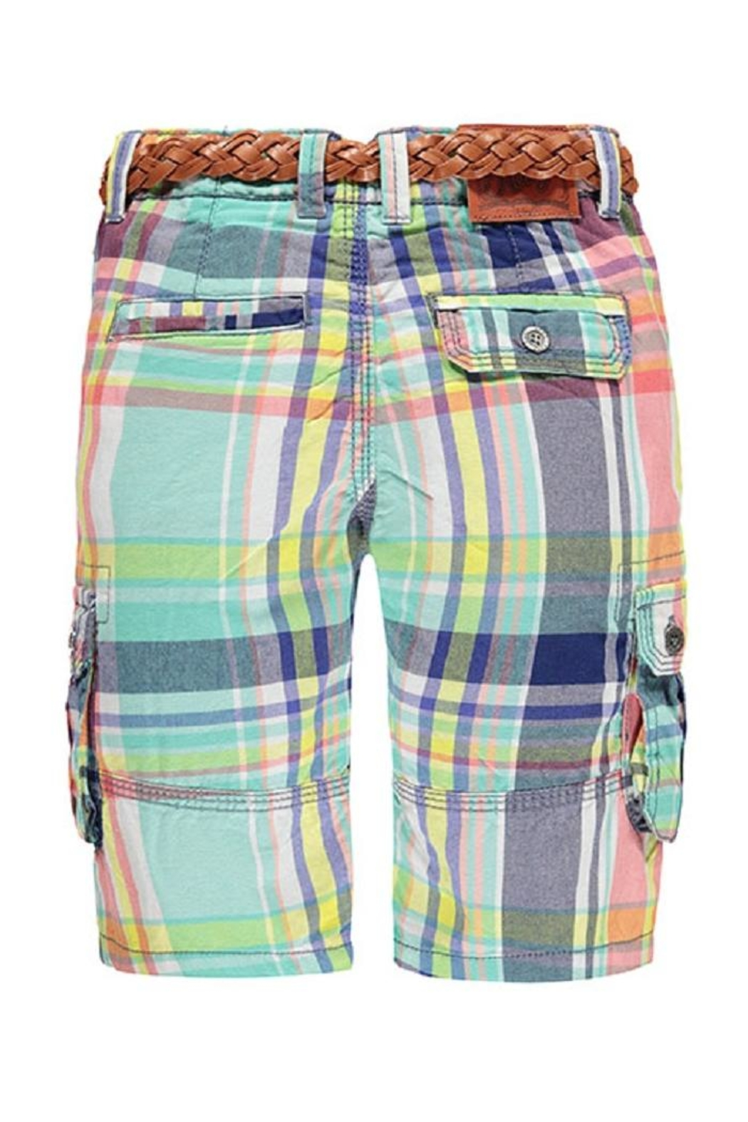 Kanz Plaid Belted Bermuda - Front Full Image