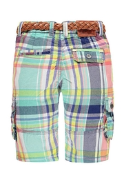 Kanz Plaid Belted Bermuda - Front full body