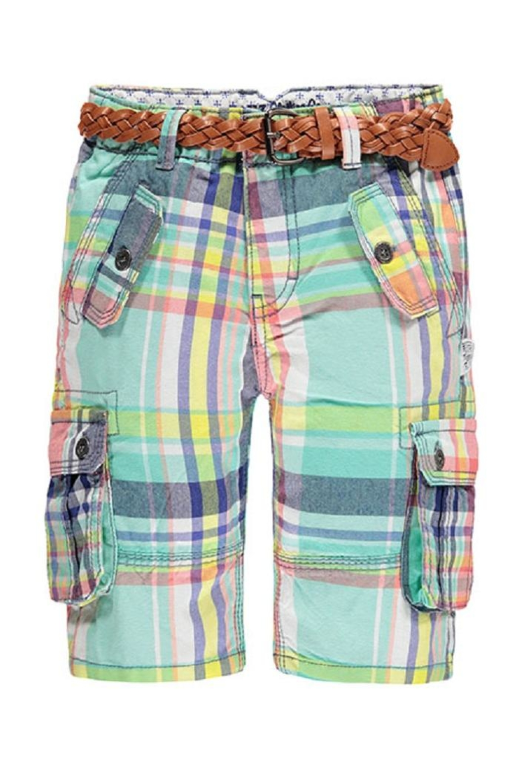 Kanz Plaid Belted Bermuda - Main Image