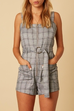 Cotton Candy LA Plaid Belted Romper - Product List Image