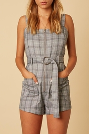 Cotton Candy LA Plaid Belted Romper - Product Mini Image