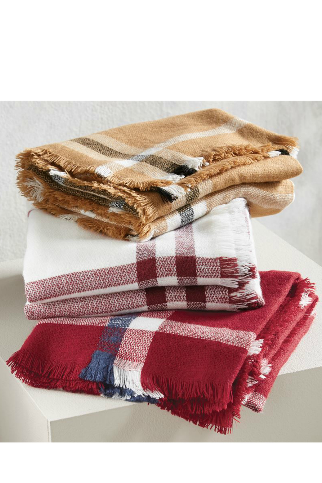 Mud Pie Plaid Blanket Scarf - Front Full Image