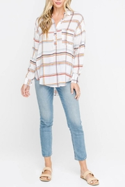 Lush Plaid Blouse, Ivory - Product Mini Image