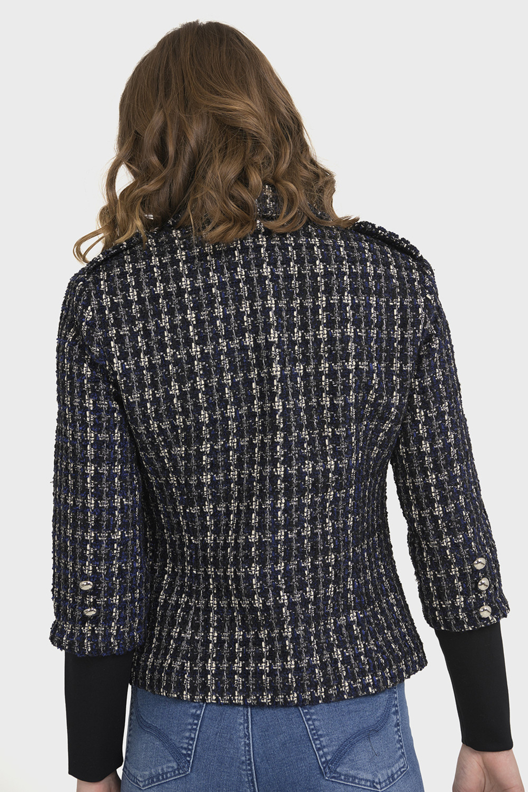 Joseph Ribkoff PLAID BOUCLE JACKET - Side Cropped Image