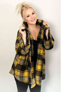 Pure Essence Plaid Boyfriend Jacket - Alternate List Image