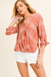 MONTREZ PLAID BUBBLE HEM BLOUSE - Product Mini Image