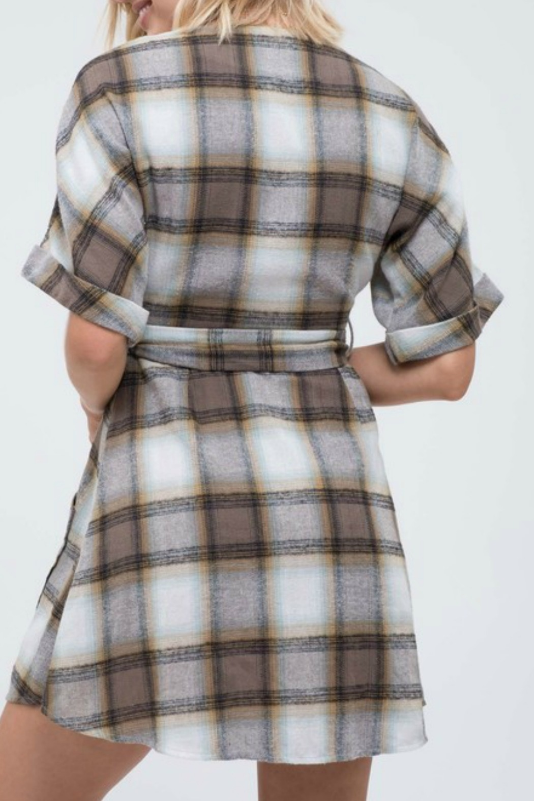 blue pepper  Plaid Button Down Dress - Front Full Image