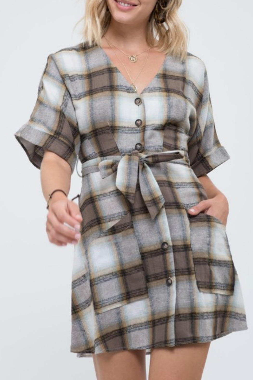 blue pepper  Plaid Button Down Dress - Front Cropped Image