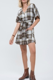 blue pepper  Plaid Button Down Dress - Side cropped