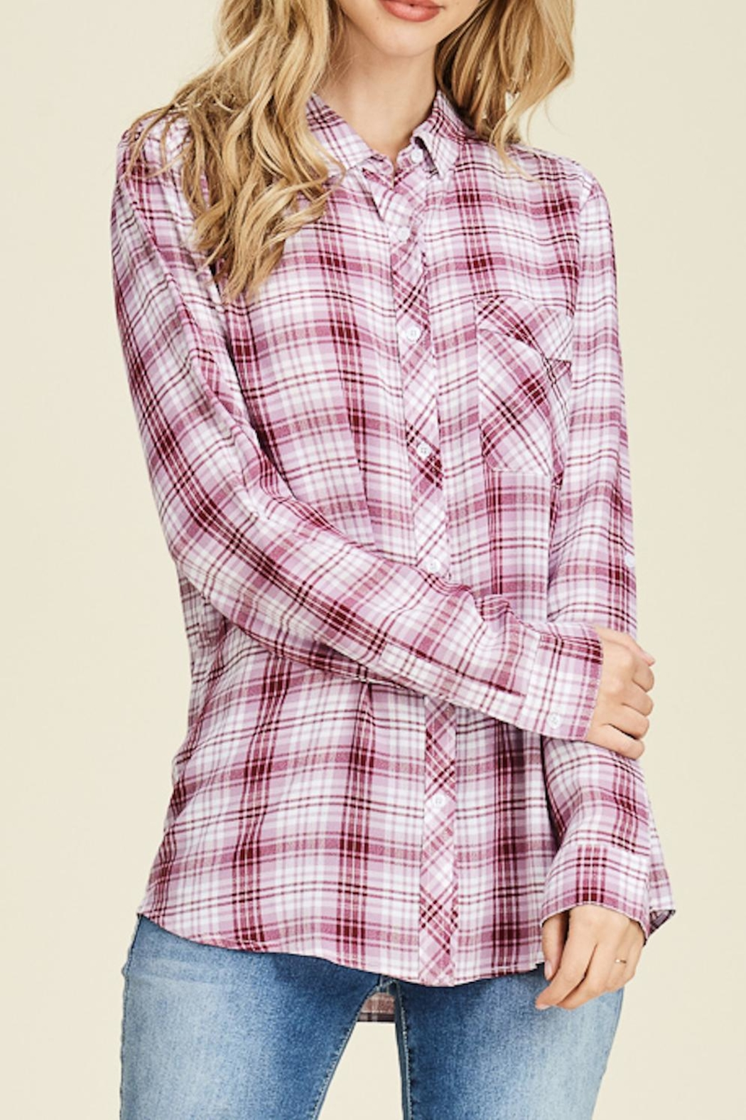 Staccato Plaid Button-Down Shirt - Side Cropped Image