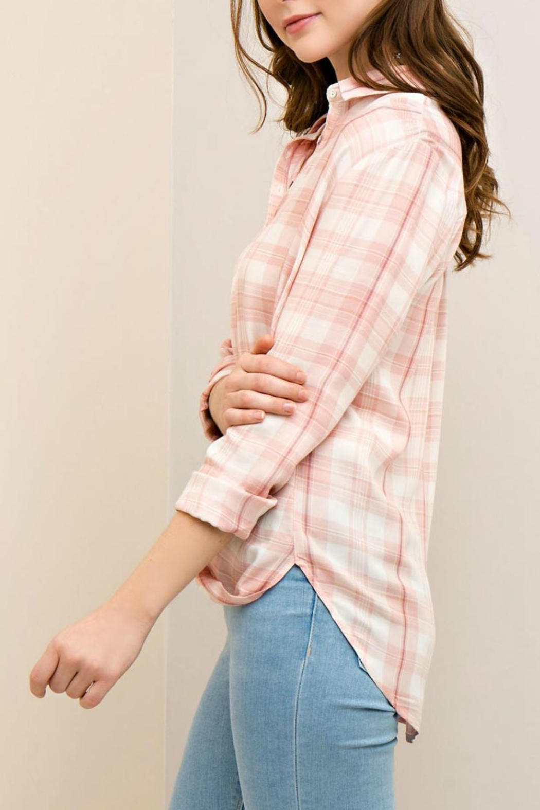 Entro Plaid Button-Down Shirt - Side Cropped Image