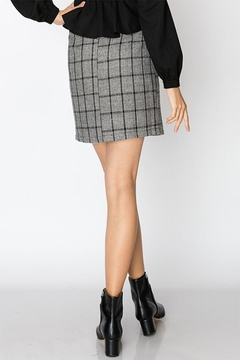 Favlux Plaid Button Skirt - Alternate List Image