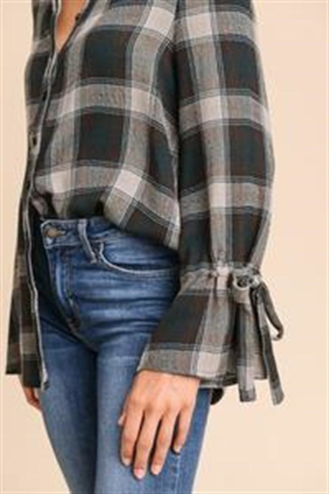 Doe & Rae Plaid Button Top - Front Full Image