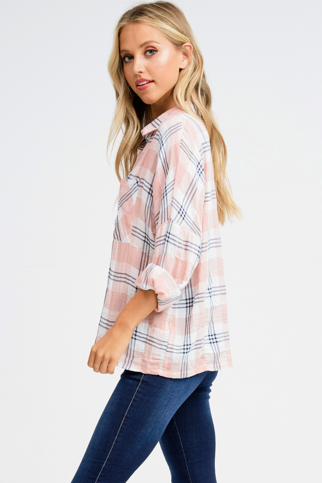 MONTREZ PLAID BUTTON UP - Side Cropped Image