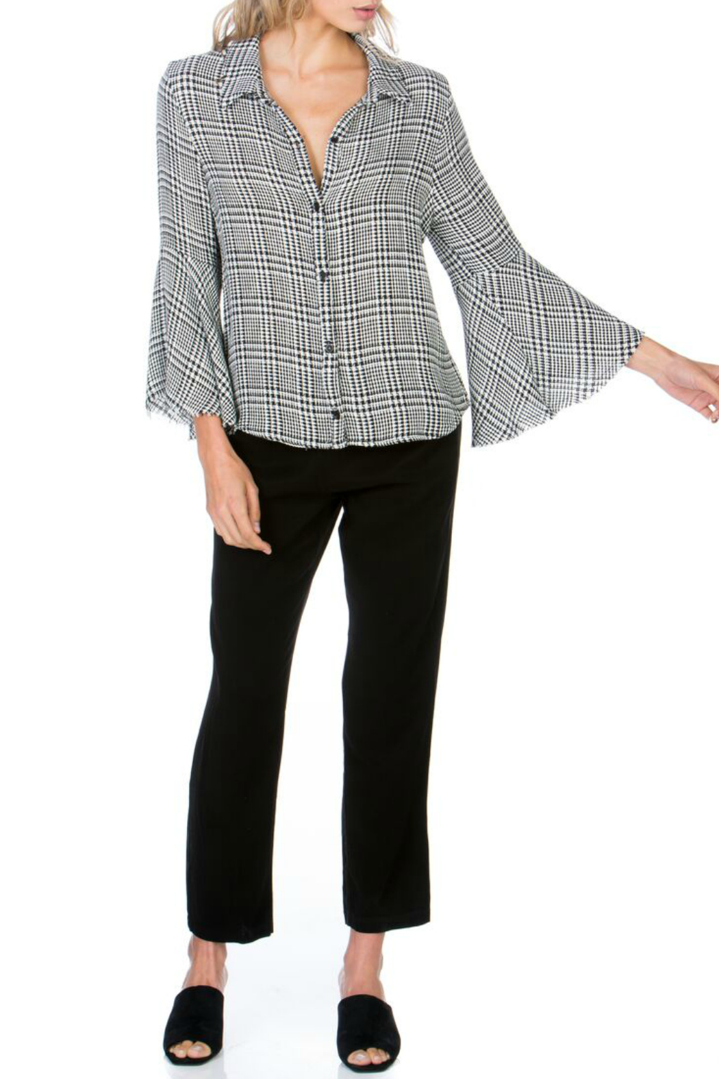 Maven West Plaid Button Up Bell Sleeve Top - Main Image