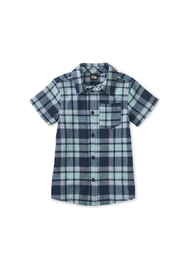 Tea Collection Plaid Button Up Shirt - Sintra Plaid In Whale Blue - Front cropped