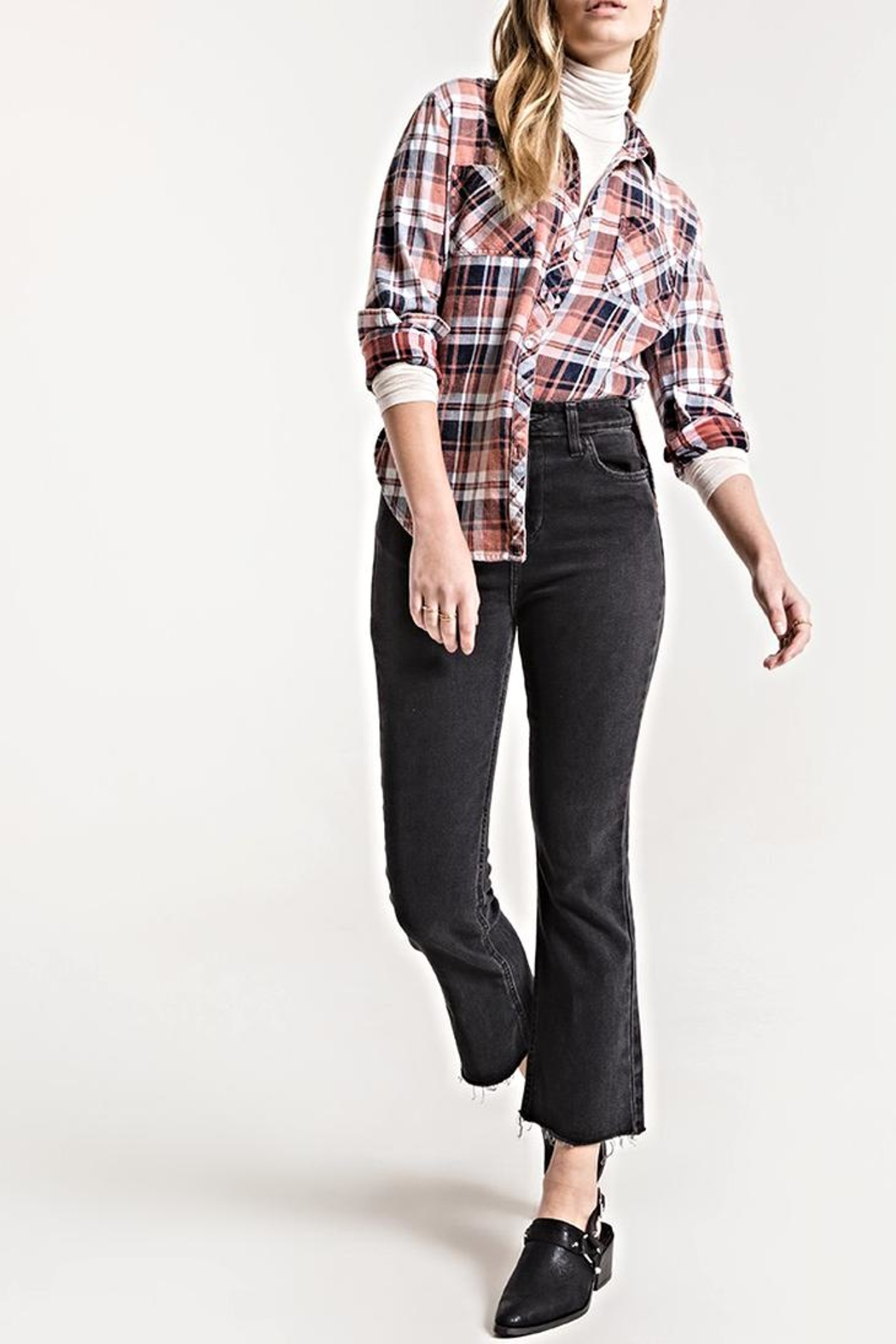 White Crow Plaid Button-Up Top - Main Image