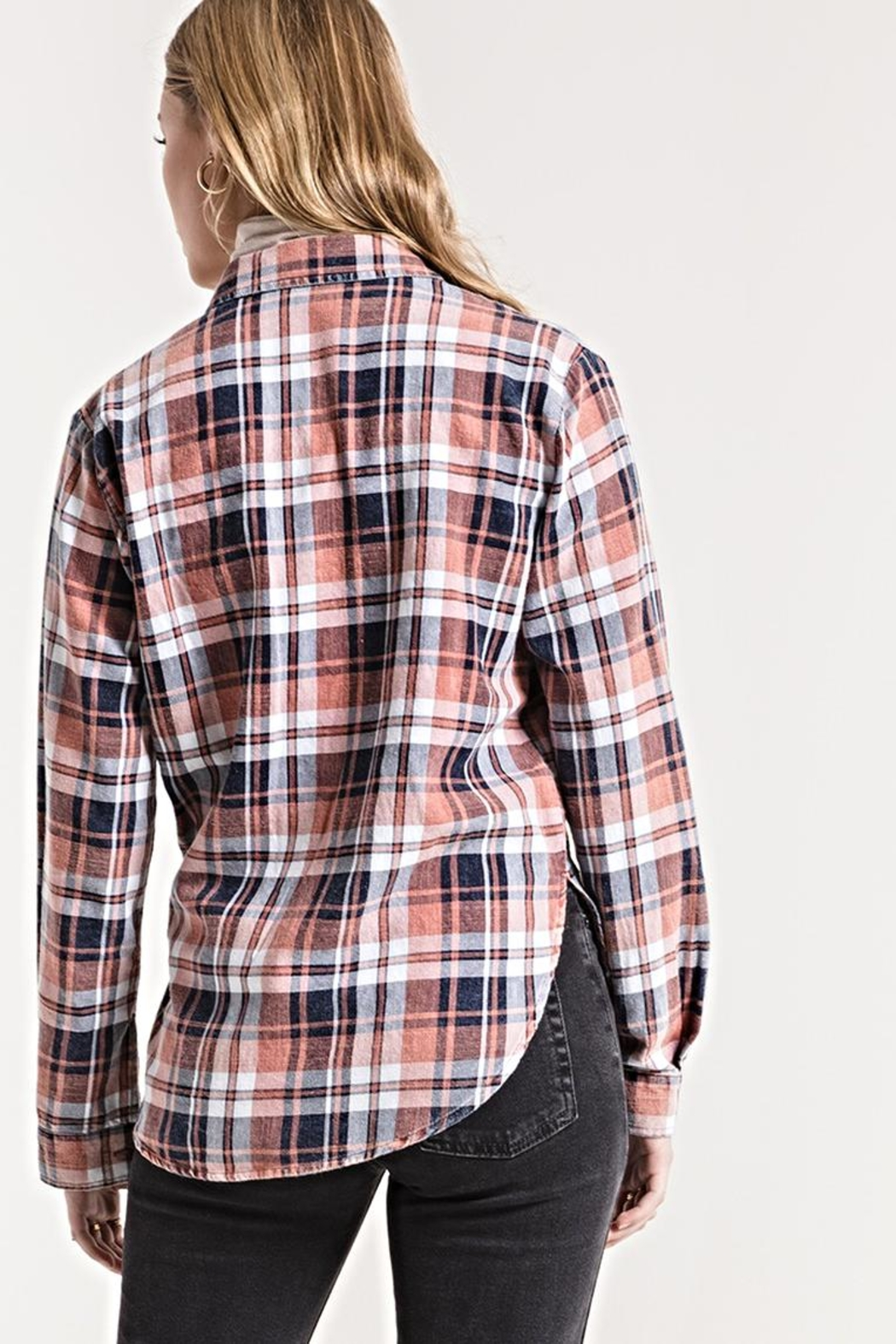 White Crow Plaid Button-Up Top - Side Cropped Image