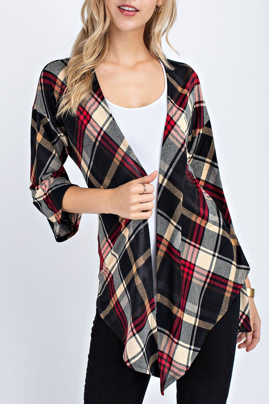 12pm by Mon Ami Plaid Cardigan - Front Full Image
