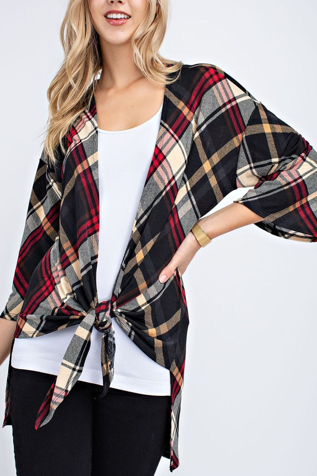 12pm by Mon Ami Plaid Cardigan - Side Cropped Image