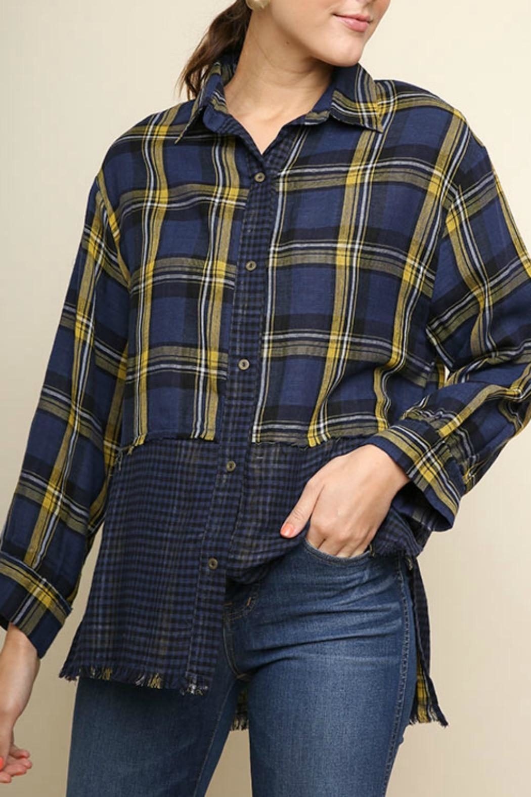 Umgee USA Plaid Checkered Button-Up - Main Image