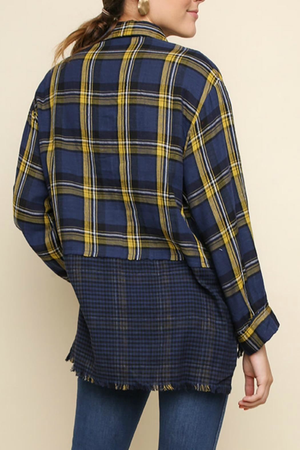 Umgee USA Plaid Checkered Button-Up - Front Full Image