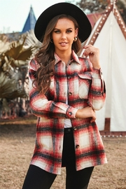 Lyn -Maree's Plaid Color Block Buttoned Jacket - Product Mini Image