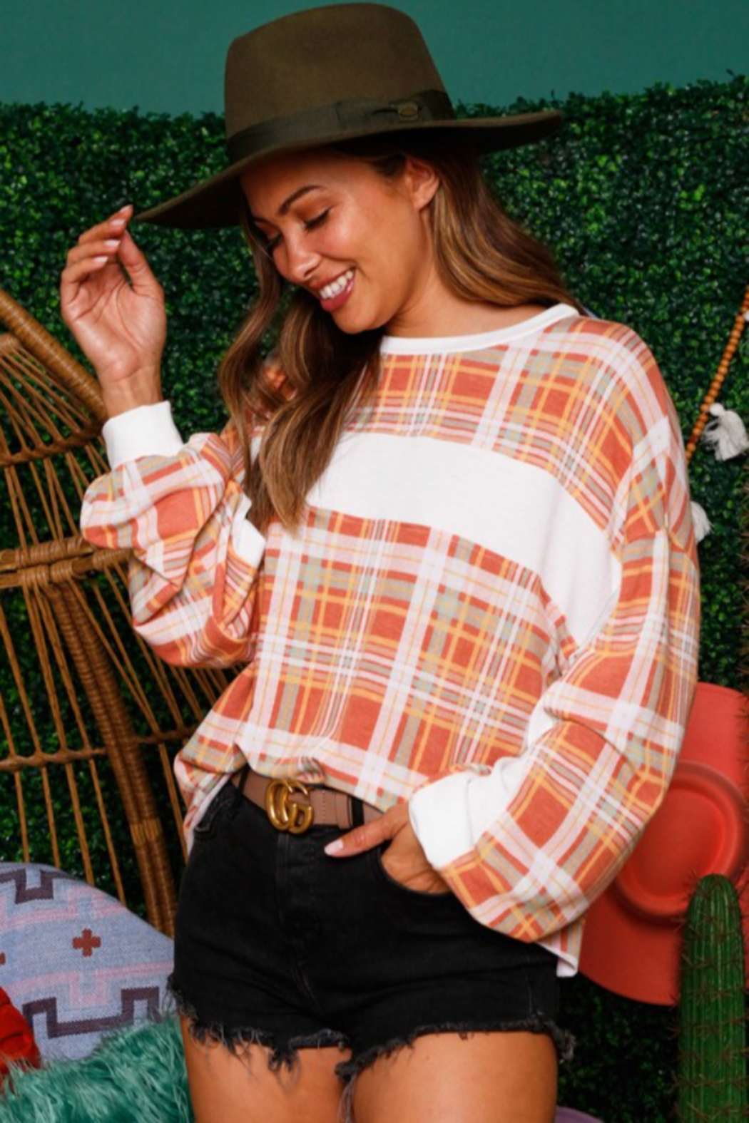 Fantastic Fawn Plaid Contrast Stripe Shirt - Front Full Image