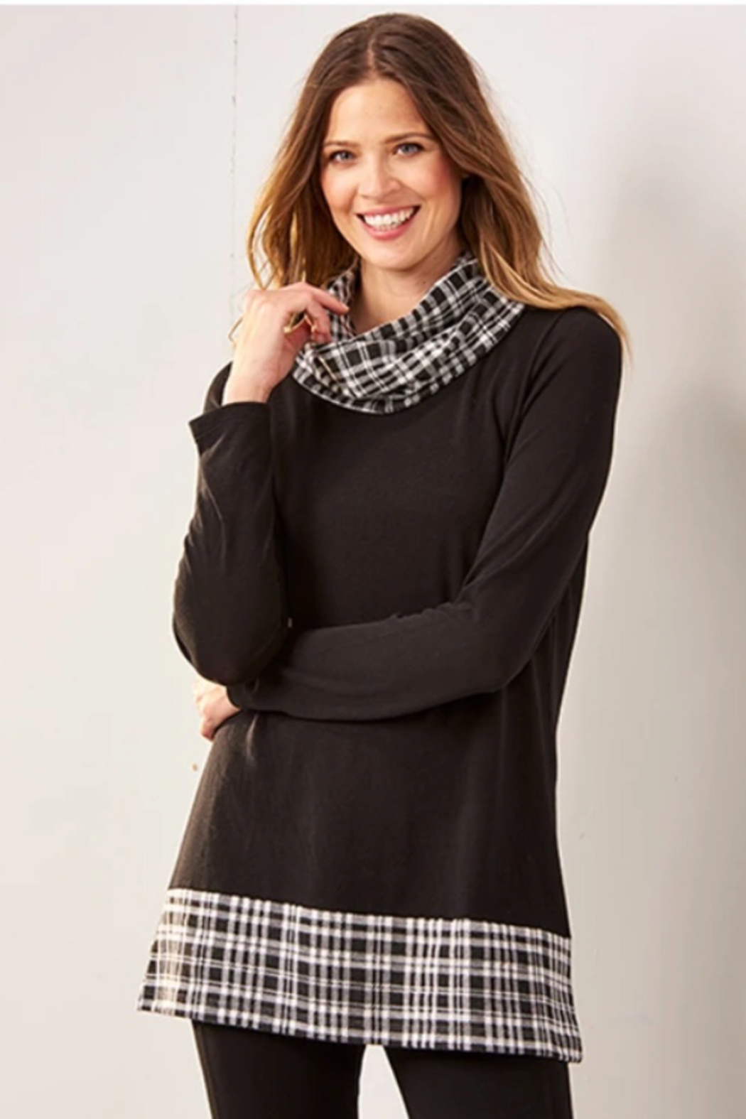 Charlie Paige Plaid Cowl Neck Tunic - Front Cropped Image