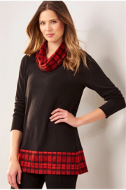 Charlie Paige Plaid Cowl Neck Tunic - Front cropped