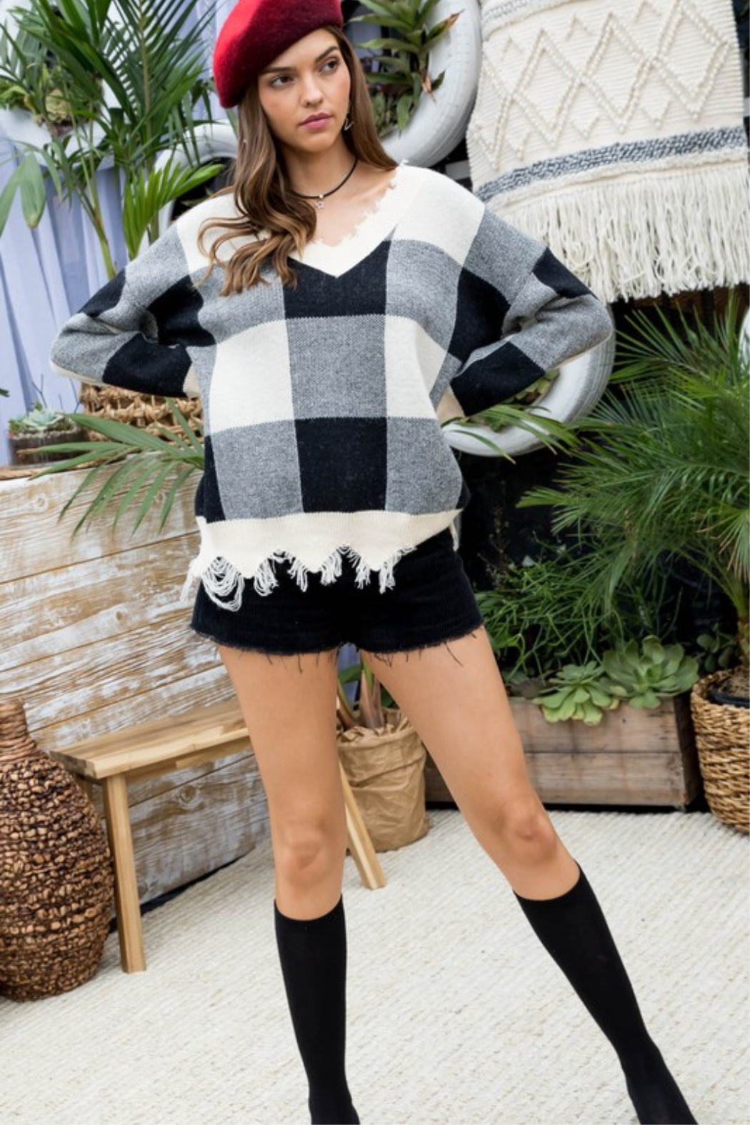 Main Strip Plaid Distressed Sweater - Side Cropped Image
