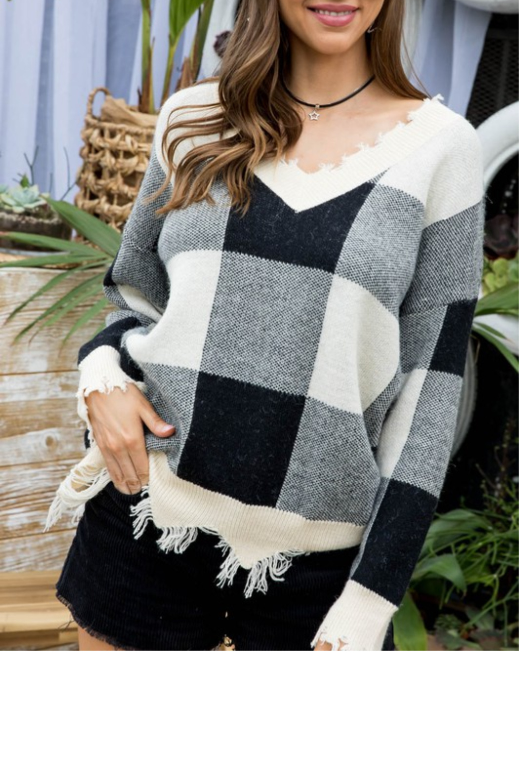 Main Strip Plaid Distressed Sweater - Front Cropped Image