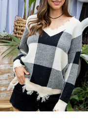Main Strip Plaid Distressed Sweater - Front cropped