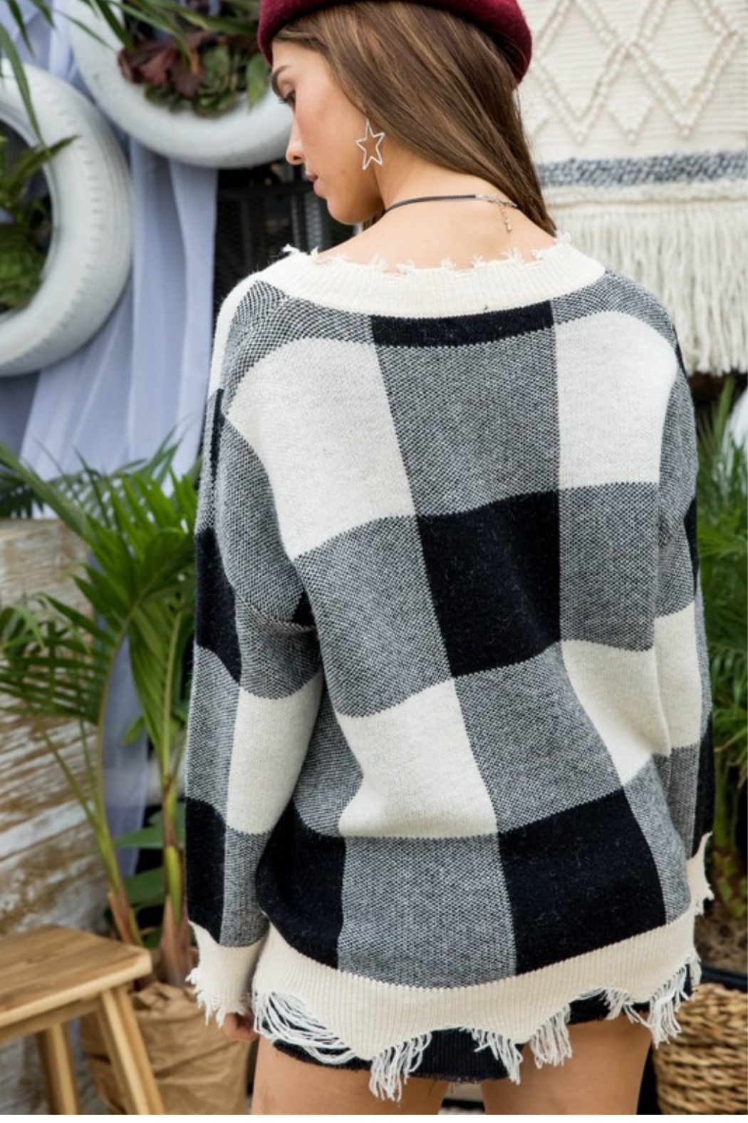 Main Strip Plaid Distressed Sweater - Front Full Image