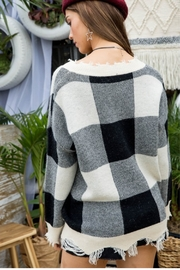 Main Strip Plaid Distressed Sweater - Front full body