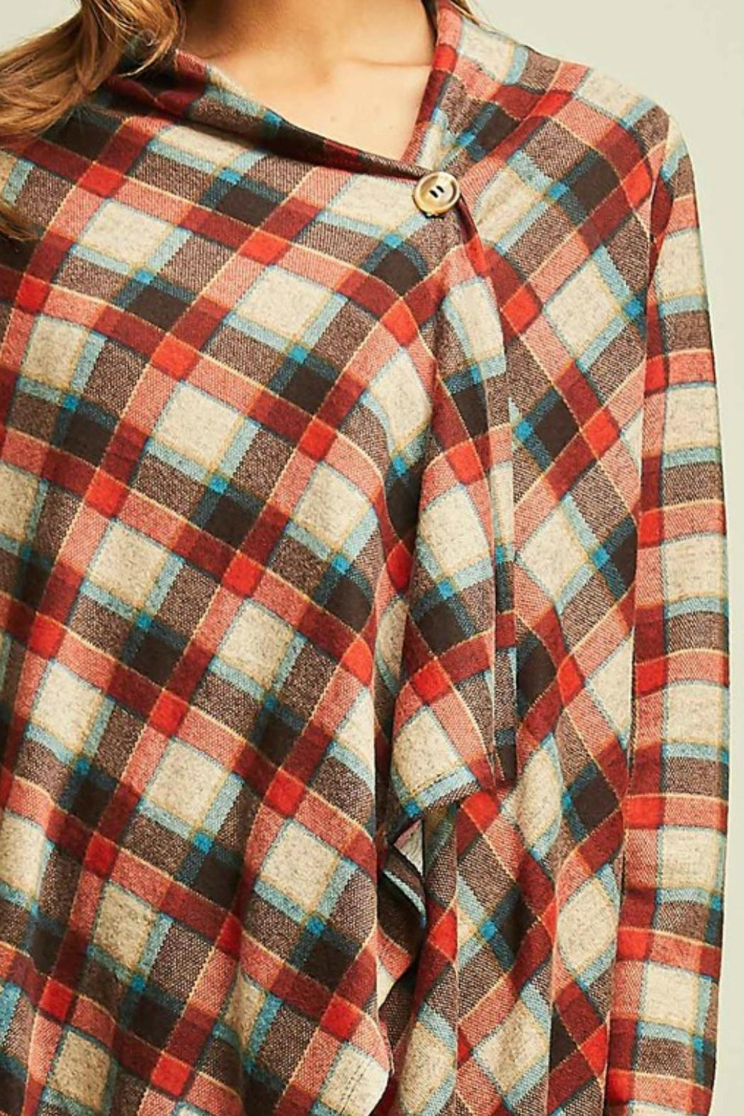 Entro Plaid Draped Jacket - Back Cropped Image