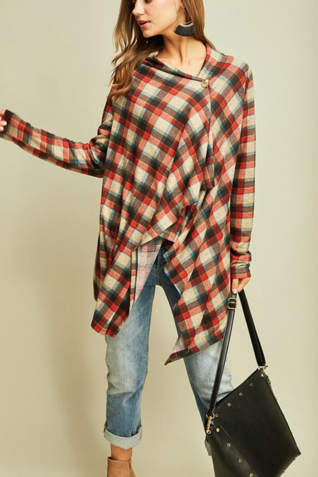 Entro Plaid Draped Jacket - Front Cropped Image