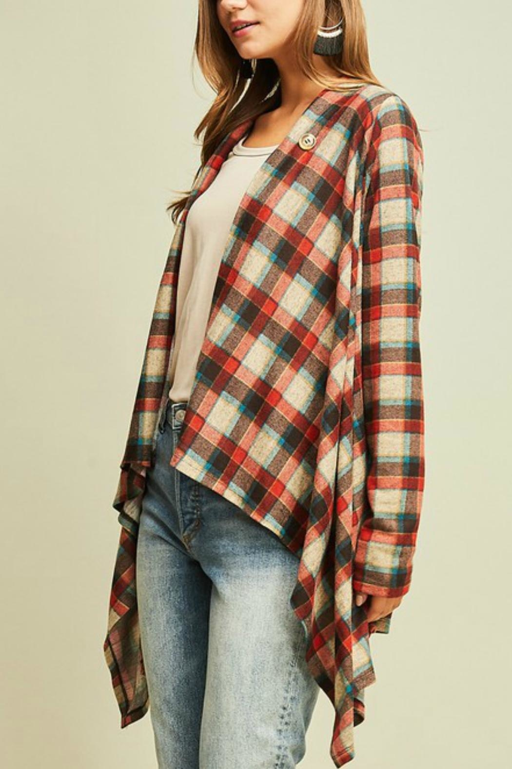 Entro Plaid Draped Jacket - Front Full Image