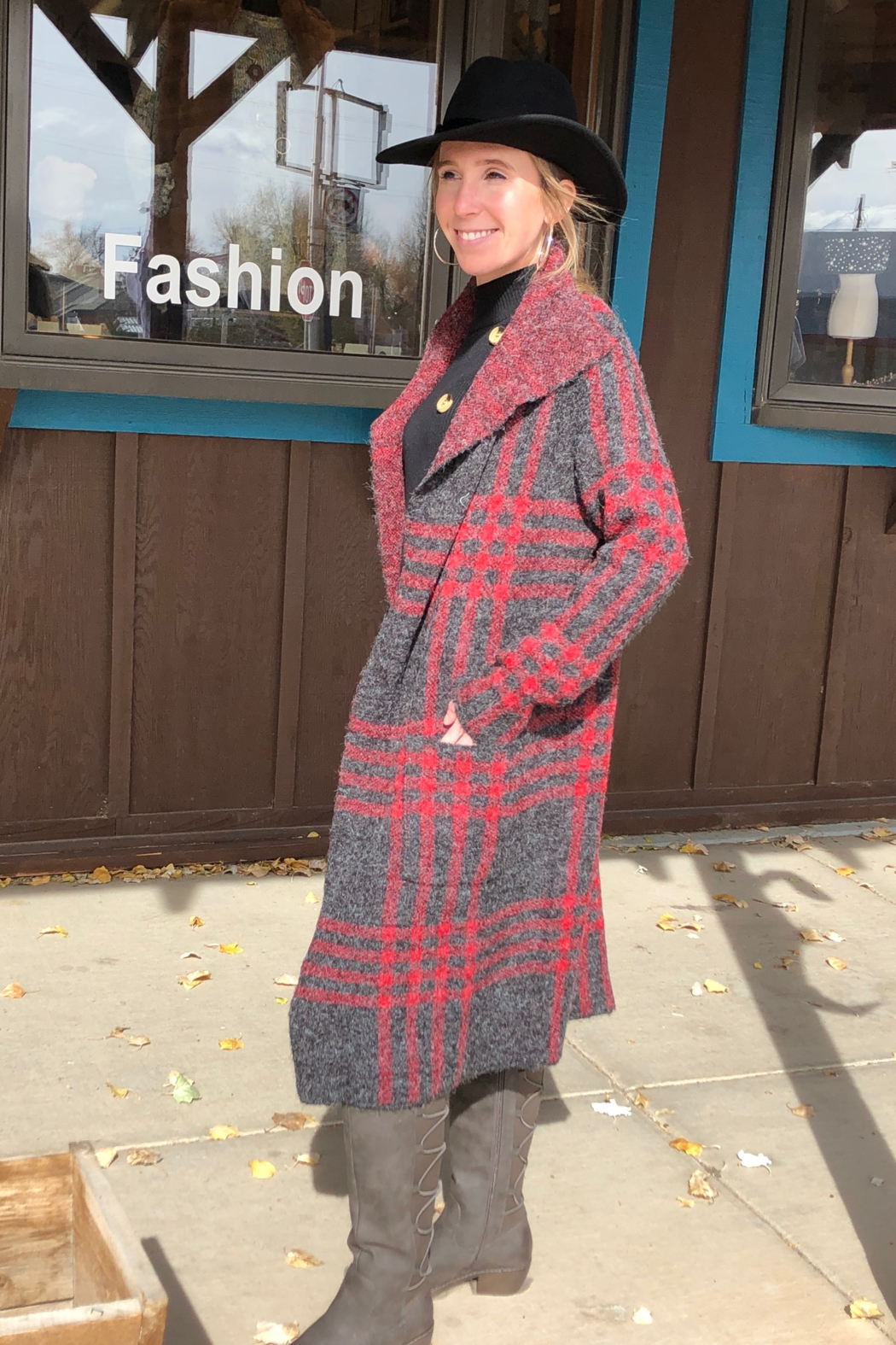 Keren Hart Plaid Duster Cardigan - Front Full Image