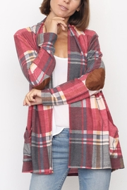 Lyn -Maree's Plaid Elbow Patch Open Cardigan - Product Mini Image