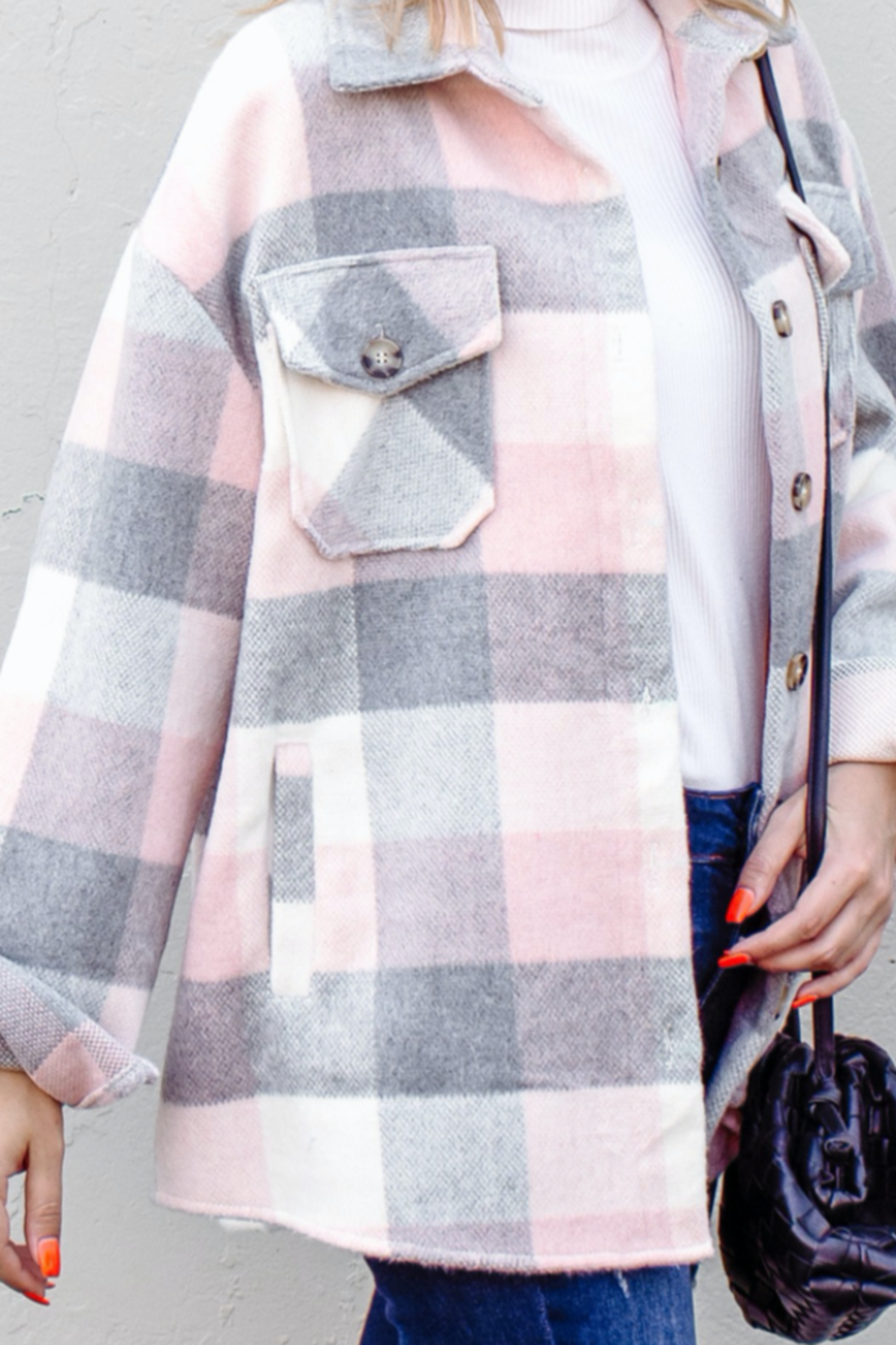 And the Why Plaid Flannel Shirt Jacket - Side Cropped Image