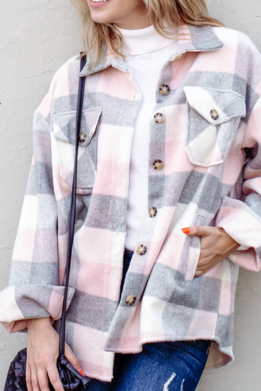 And the Why Plaid Flannel Shirt Jacket - Front Full Image